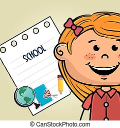 girl cartoon school student icon