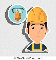 man worker mask smog vector illustration design eps 10