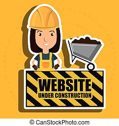 woman website under construction avatar vector illustration...