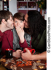 Surprise kiss - Woman caught in a surprise love triangle