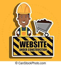 man website under construction avatar vector illustration...