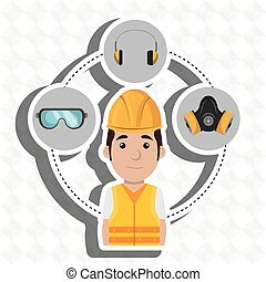 worker equipment protection tool vector illustration design