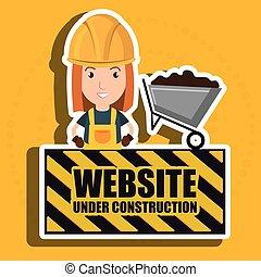 woman website under construction avatar vector illustration...