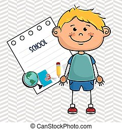boy cartoon school student icon