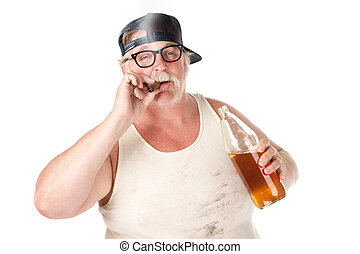 Smoking and drinking - Fat man with smoking a cigar and...