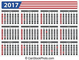 USA calendar 2017 - official holidays