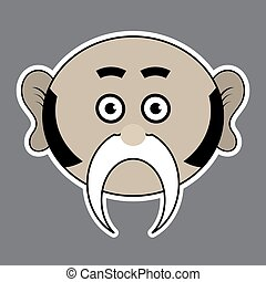 sticker - beige ridiculous man with black mustache - sticker...