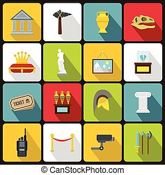 Museum icons set, in flat style - Museum icons set in flat...