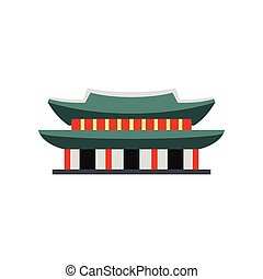 Gyeongbokgung palace in Seoul, Korea icon in flat style on a...