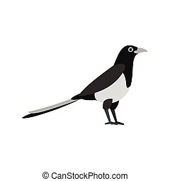 Magpie icon in flat style - icon in flat style on a white...