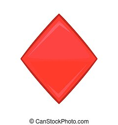 Card suit diamonds icon, cartoon style - Card suit diamonds...