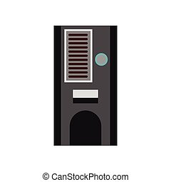 Coffee vending machine icon, flat style - Coffee vending...
