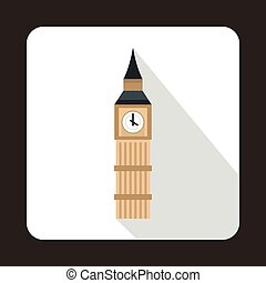 Big Ben in Westminster, London icon, flat style - icon in...