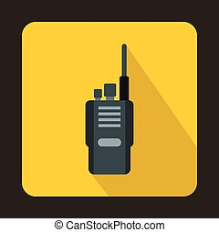 Portable radio transceiver icon, flat style - icon in flat...