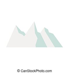 Snowy mountains icon, flat style - icon in flat style on a...