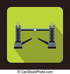 Tower Bridge, London icon, in flat style - icon in flat...