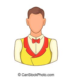 Croupier icon, cartoon style - Croupier icon in cartoon...
