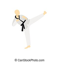 Wushu fighting style icon, flat style - icon in flat style...