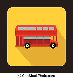 London double decker red bus icon in flat style on a yellow...