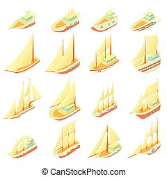 Sailing ship icons set, cartoon style