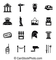 Museum icons set, simple style - Museum icons set in simple...