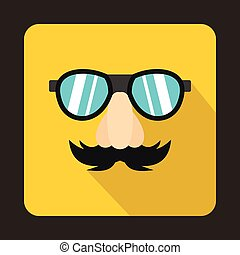 Comedy fake nose mustache, eyebrows, glasses icon - icon in...