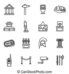 Museum icons set, outline style - Museum icons set in...