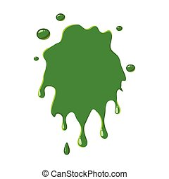 Slime spot isolated on white background. Green slime spot...