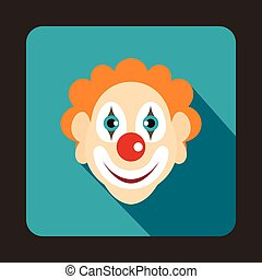 Head of clown icon, flat style - icon in flat style on a...