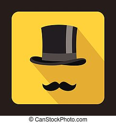 Male black mustache and cylinder icon, flat style - Male...