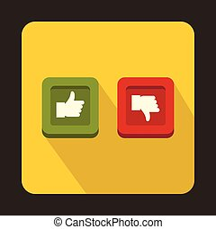 Thumbs up and down buttons icon, flat style