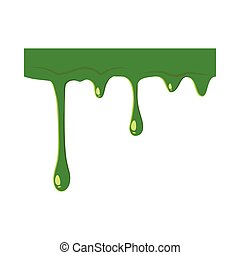 Oozing slime isolated on white background. Green slime...