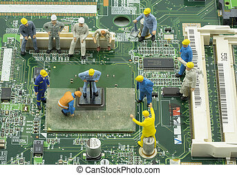 mini engineer team to repair chipset on green mainboard -...