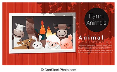Farm animal background , vector , illustration