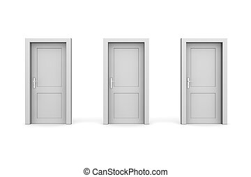 Three Grey Closed Doors - line of three grey doors - door...