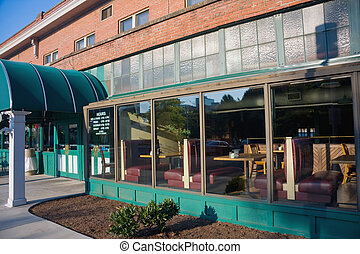 Old Diner - Facade of old diner in downtown, Knoxville,...