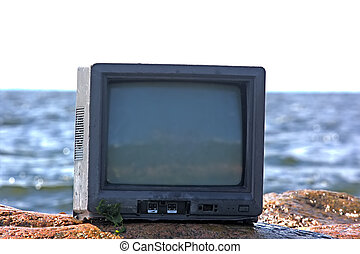 concept of television and world - unusual photo of TV in...