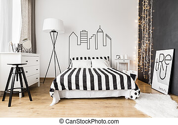 Black and white room for two - Fullu furnished woman's...