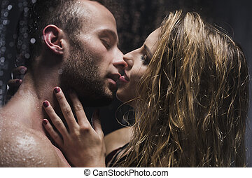 Kiss me just like that - Image of a beautiful young couple...