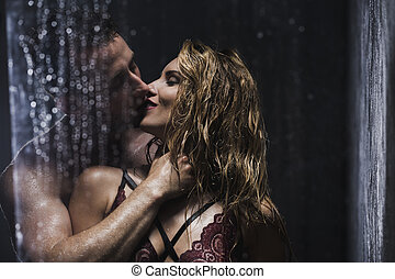 You're so sexy wet... - Happy erotic couple kissing and...
