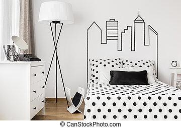 Cosy corner of woman's bedroom