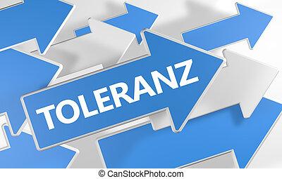 Toleranz - german word for tolerance - 3d render concept...