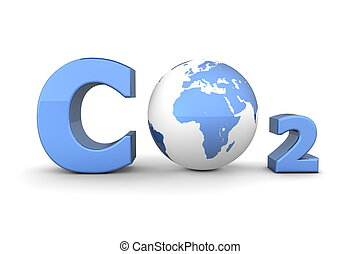 Global Carbon Dioxide CO2 - Shiny Blue - chemical symbol CO2...