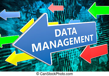 Data Management - text concept on blue arrow flying over...