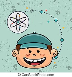 boy cartoon atom icon
