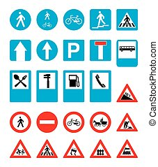 set of road signs. vector image