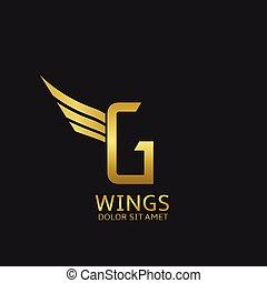 Wings G letter logo Golden creative alphabet, air emblem