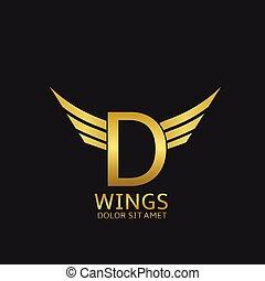 Wings D letter logo Golden creative alphabet, air emblem