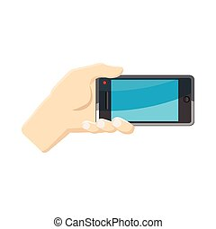 Selfie with mobile smart phone icon, cartoon style
