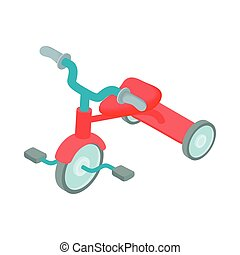 Red kid tricycle icon, cartoon style - icon in cartoon style...